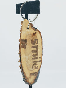 Artisan smile birch wood keychain