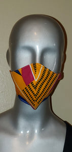 Yellow African Print Fabric Mask