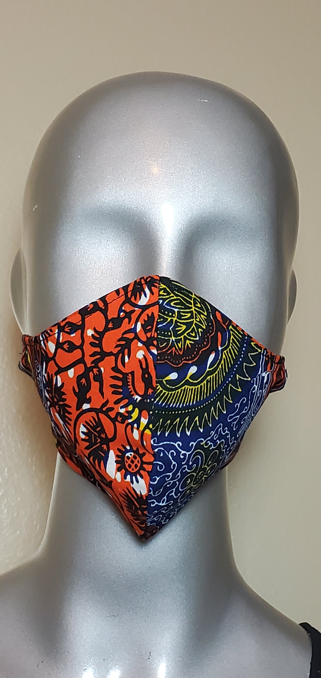 Blue orange yellow African print Fabric Mask