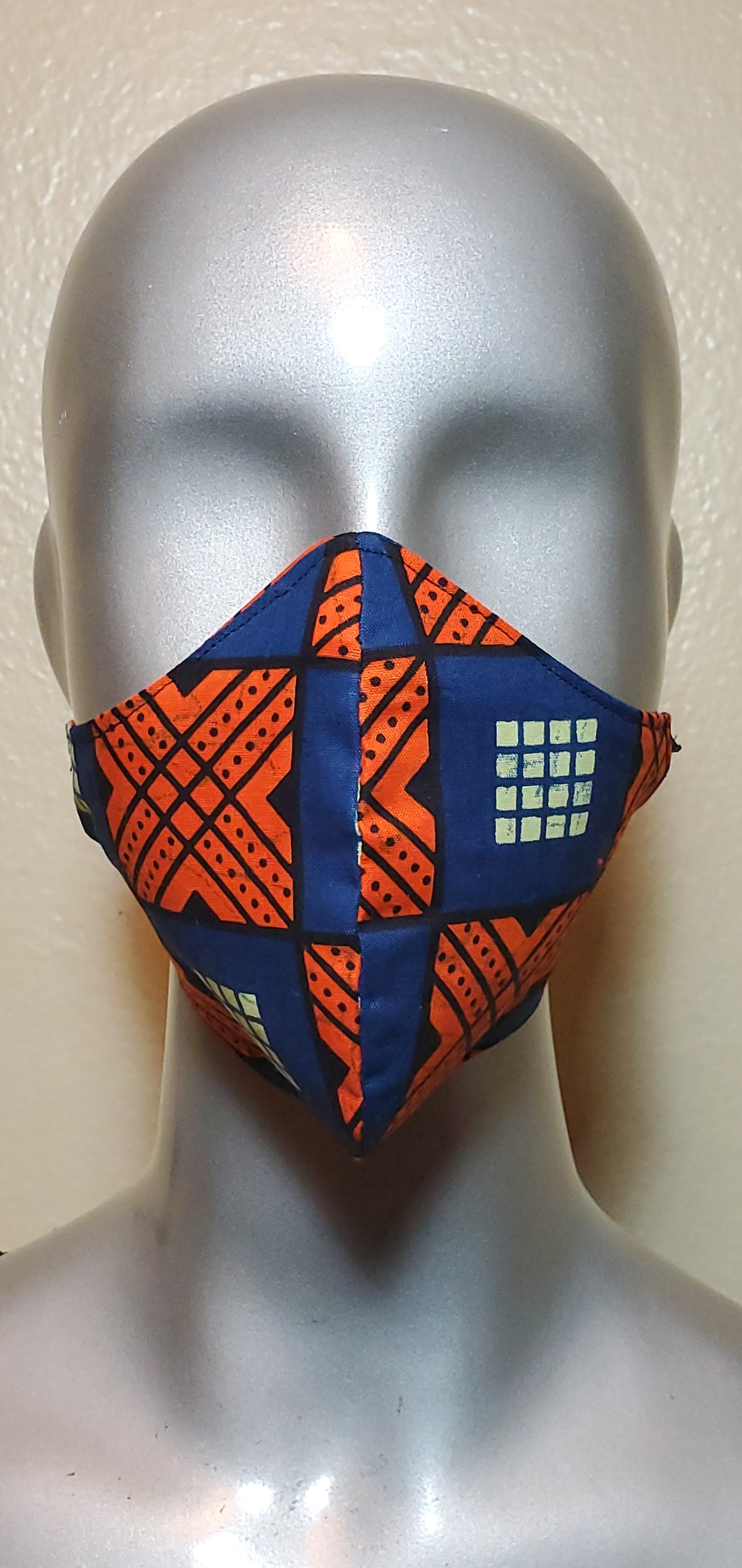 Blue Orange Square African Print Fabric Mask