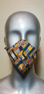 Geometric Multi Color African Print Fabric Mask