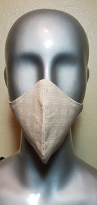 Tan African Box Lines Fabric Mask