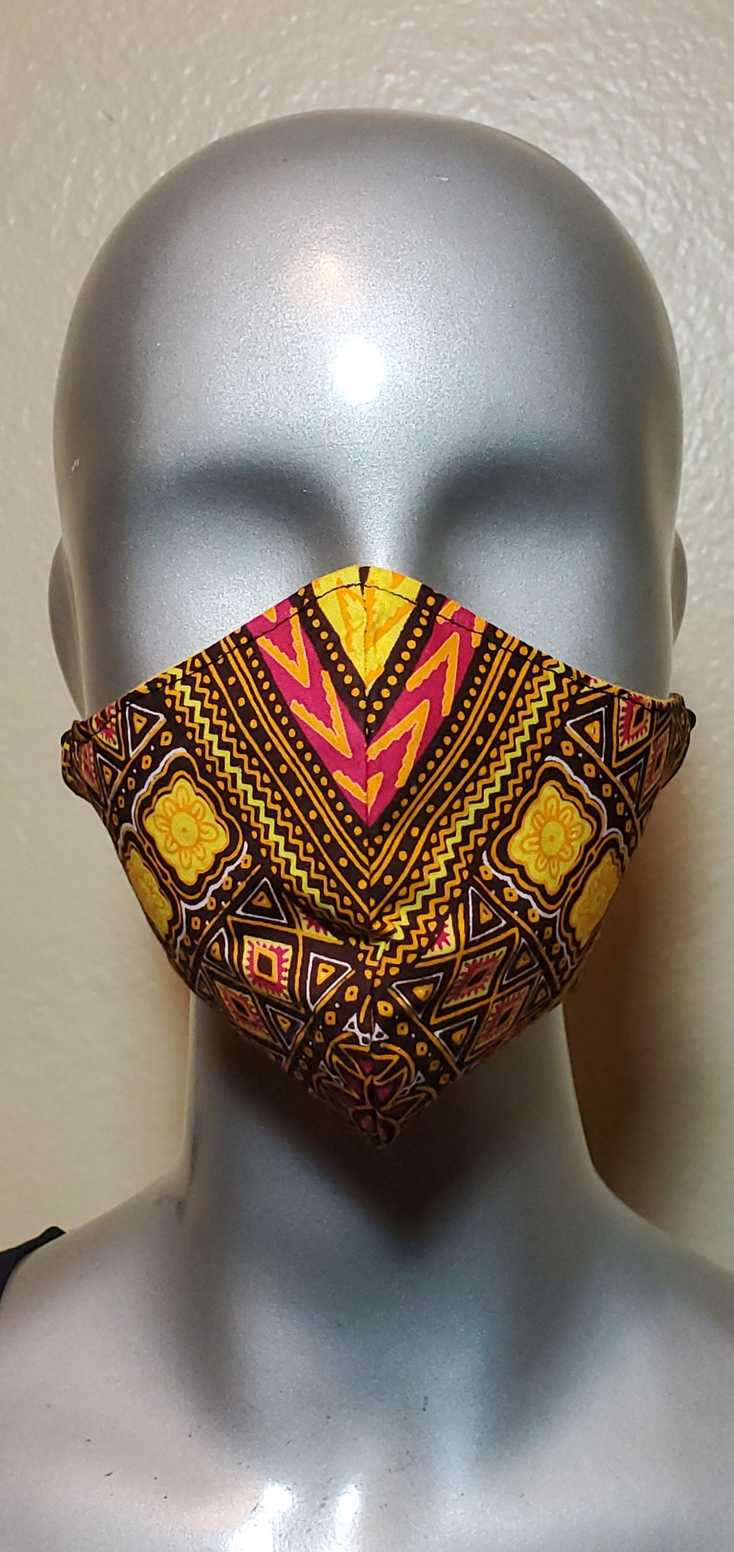 Yellow Multi Color African Print Fabric Mask