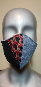 Reversible Black and Burgundy and Denim African Print Fabric Mask