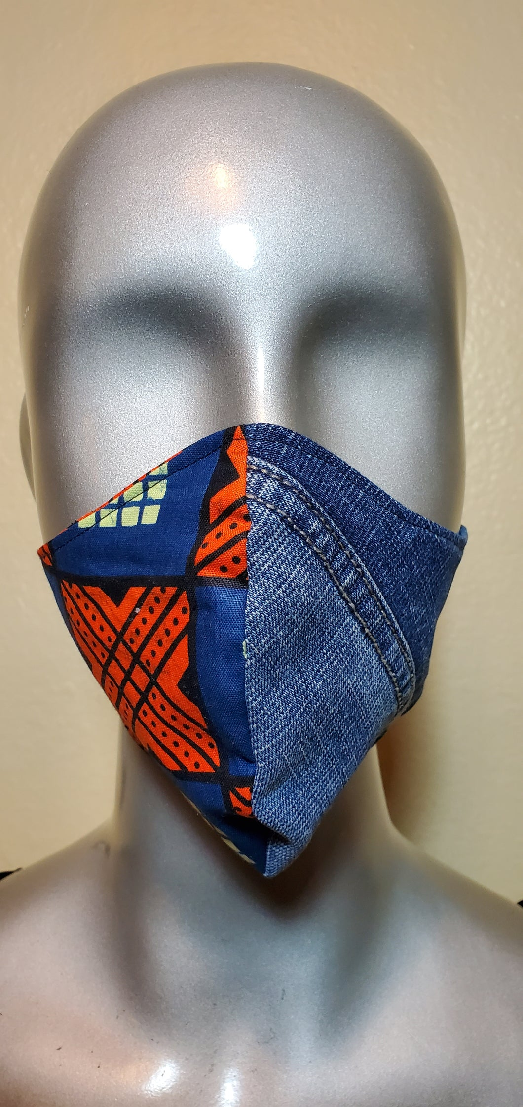 Reversible African Blue/Orange and Denim Fabric Mask