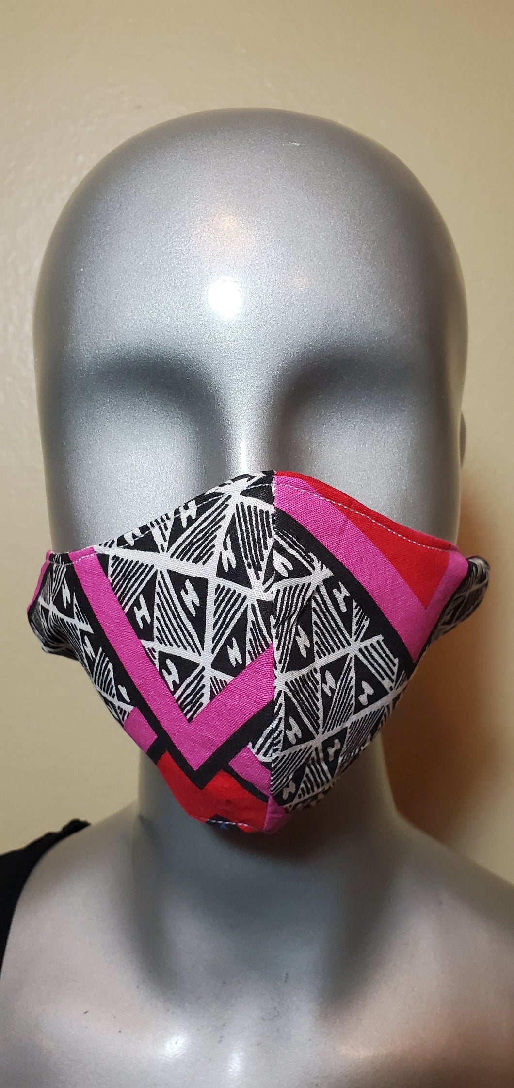 Black Pink White African Print Fabric Mask
