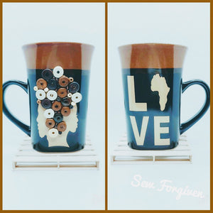 "Artisan wood embellished black couple "" Black Love"" Mug 1"