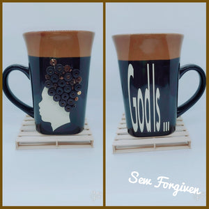 "Artisan wood embellished black man "" God Is..."" mug 18"