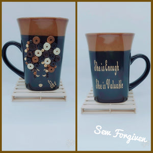 "Artisan wood embellished black woman "" She is Valuable/Enough"" mug 17"