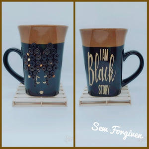 "Artisan wood embellished black woman "" I am black story"" mug 15"