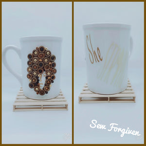"Artisan wood embellished black woman "" She Strong"" mug 7"