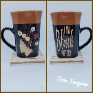 "Artisan wood embellished black woman "" I Am Black History"" mug 23"