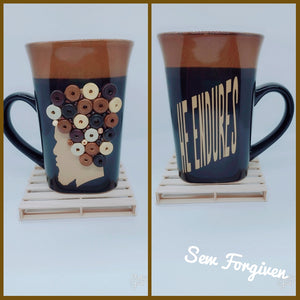 "Artisan wood embellished black man "" He Endures"" mug 20"