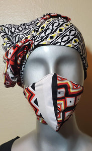 Multi color white red black gray orange yellow fabric hat and mask set