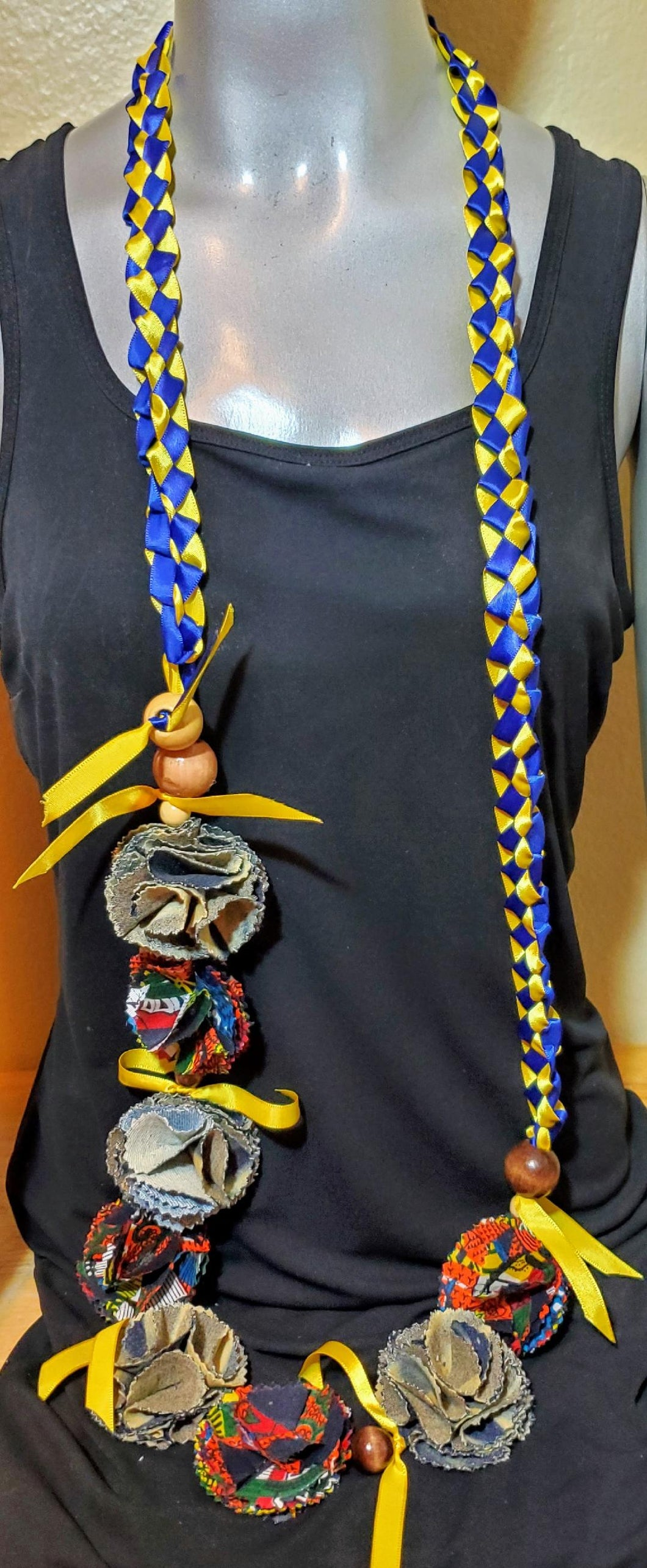 Graduation Lei blue and yellow ribbon with denim and African print flowers