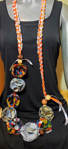 Graduation Lei orange and white ribbon with denim and African print flowers