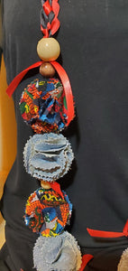 Graduation Lei red and black ribbon with denim and African print flowers