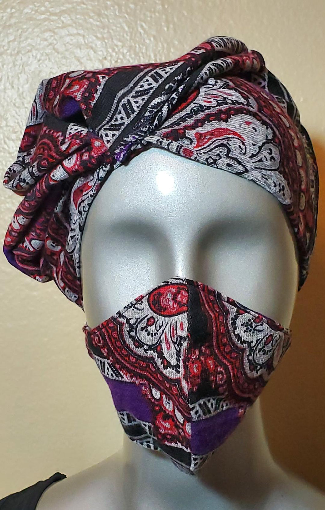 Multi color black purple red gray fabric hat and mask set