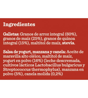 Galletas de Arroz con Crema de Yogurt Manzana y Canela 3 Pockets