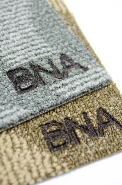 Detail of Brand on Multiple BNA Carpet Doormats