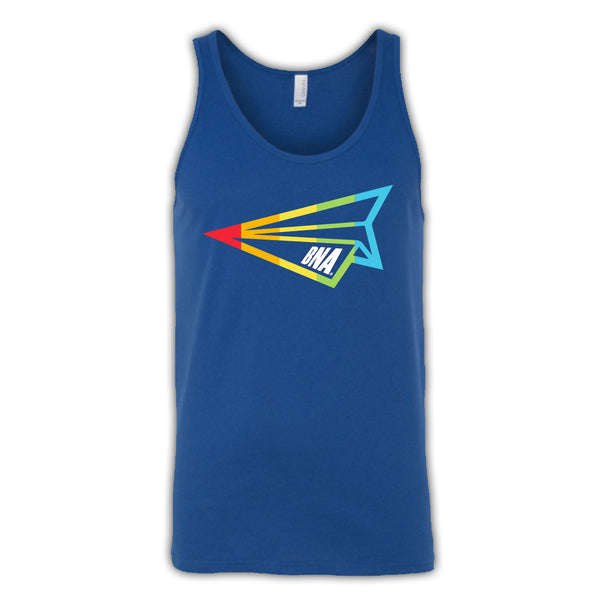 BNA Pride Tank against white background.  Tank is royal blue and features a rainbow BNA Paper Airplane