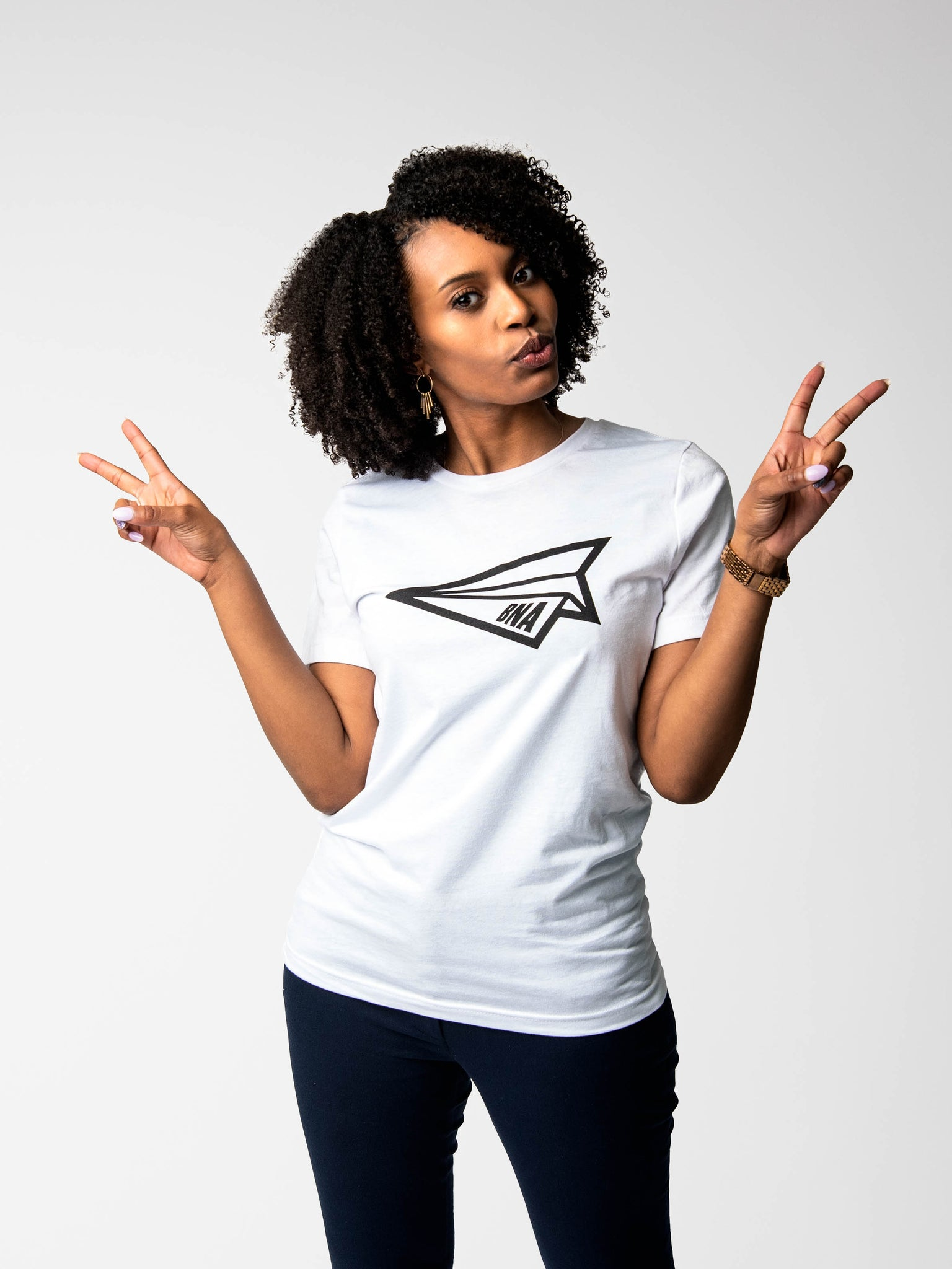 Woman wearing Paper Airplane White T-Shirt