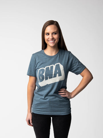 Woman wearing Upward Heather Slate T-Shirt