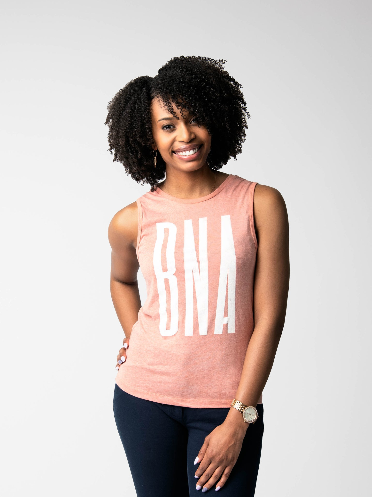 Woman wearing Sky High Tank
