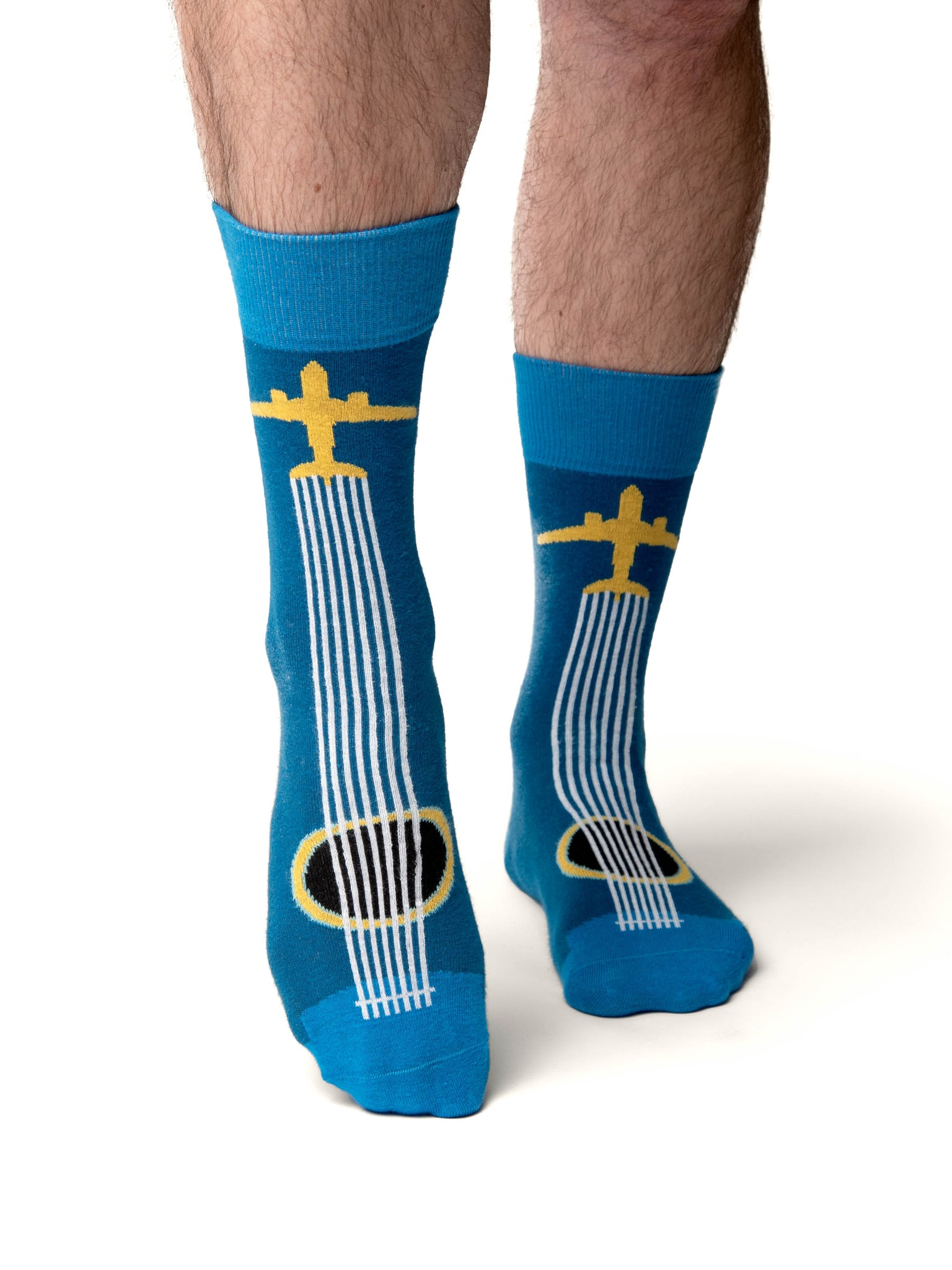 Front View of BNA Airplane Guitar Socks