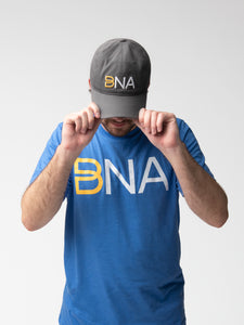 Man wearing BNA logo cap in gray