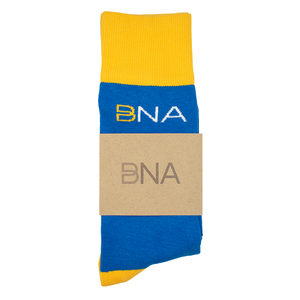 Blue Socks with White cuffs, heels, and toes and the BNA logo.