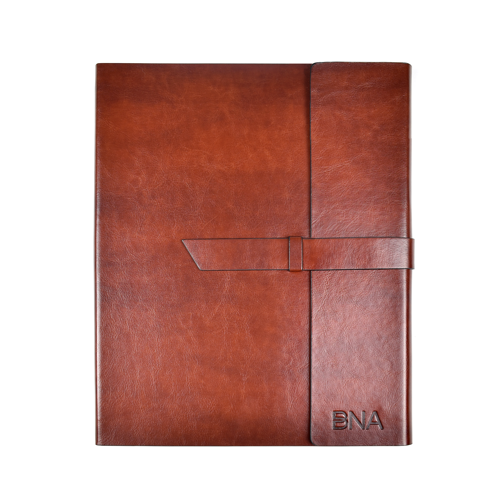 Full view of BNA embossed faux leather portfolio in cognac.