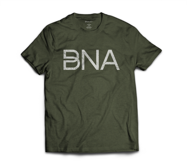 Flat view of Heather Olive BNA Logo Tee.