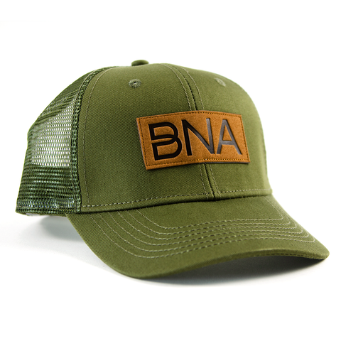 Front view of Olive Green BNA Patch Trucker Hat.  Olive Hat with mesh back and sides, brown BNA logo patch.