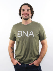 Male model wearing Heather Olive BNA Logo Tee.