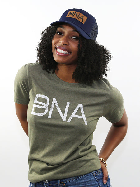 Photo of model wearing BNA Leather Patch Trucker