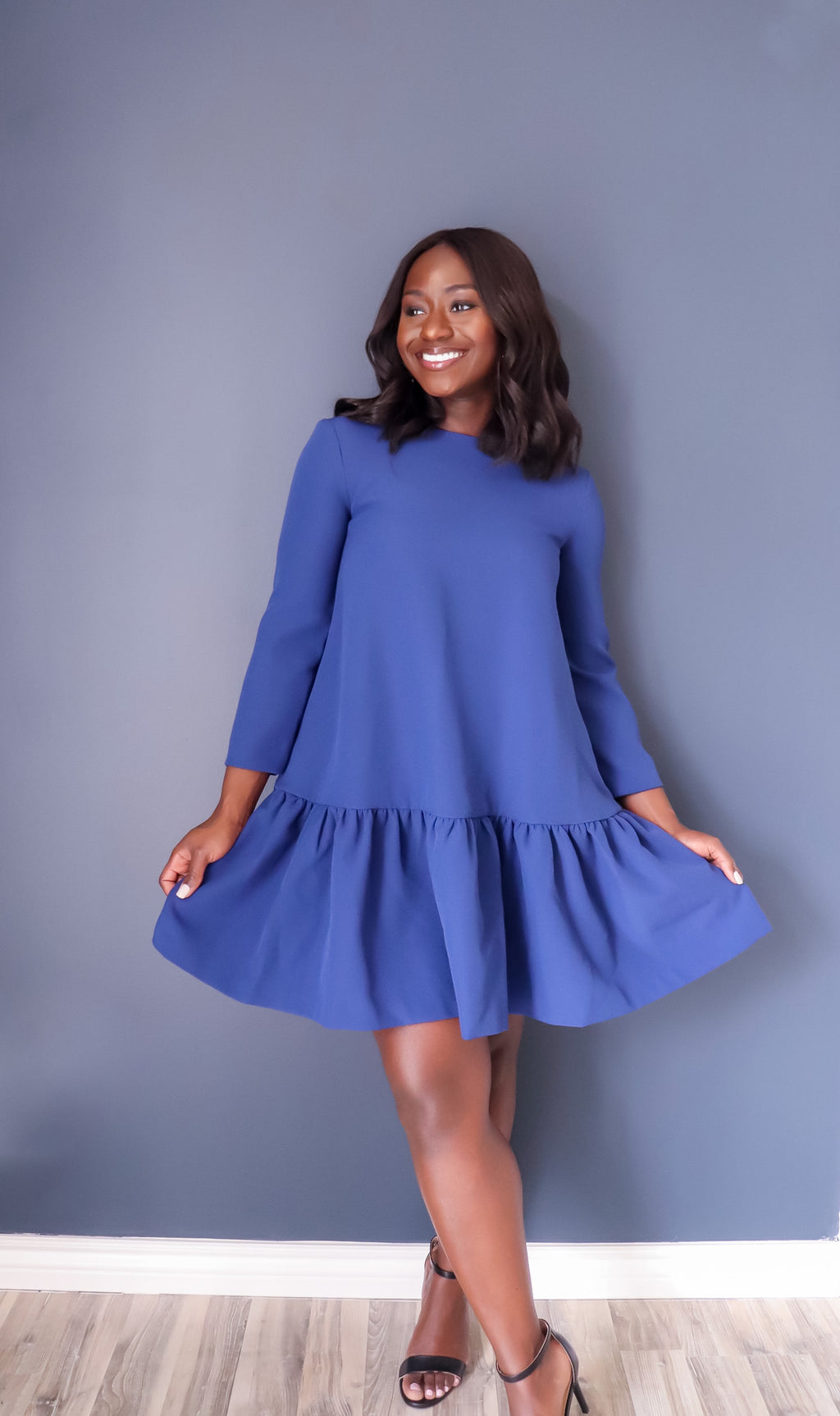 EDIT The Brand Easy Peplum Dress- BLUE
