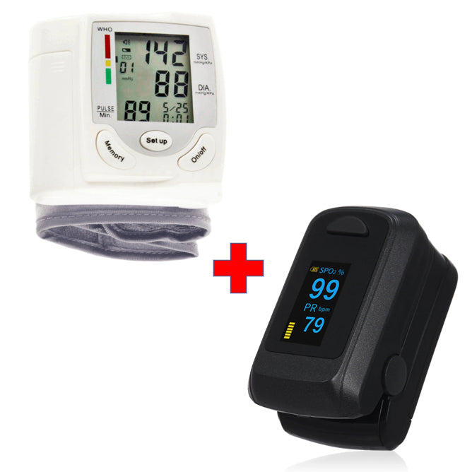 Vitalzz 2-in-1 Digital Pulse Oximeter SpO2 Sensor and Wrist Blood Pressure Monitor Set