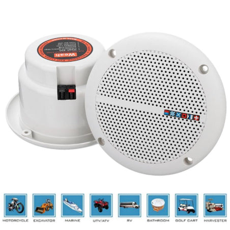 H20OFF™ Waterproof Marine Boat Kitchen Bathroom Shower Audio Ceiling Speakers - Water Resistant - 1 Pair