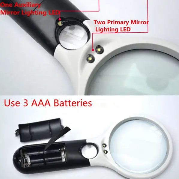 Tool Accessories - Lensy™ Best Small 10x - 20x Handheld Reading Magnifying Glass Lens With LED Light