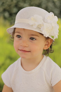 Girls Fancy Hat with Flowers, Special Occasion Hats, Custom Made
