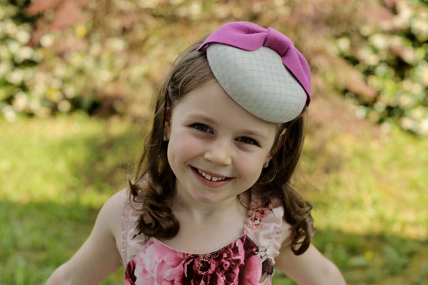 Pink Fashion Beret Hat with Bow, Girls Fancy Tea Party Hats