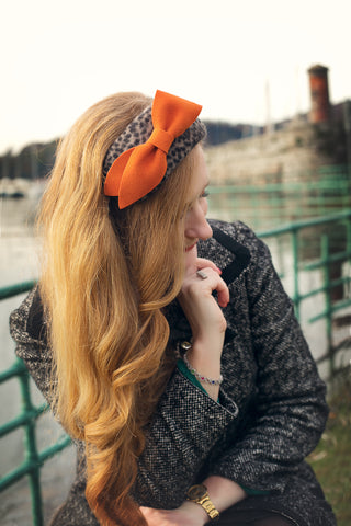Orange Bow Leopard Print Headband, Evening Fascinator