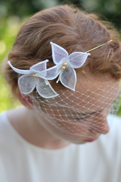 Ivory Butterfly Headband with Veil, Bridal Accessories, Bridal Headpiece