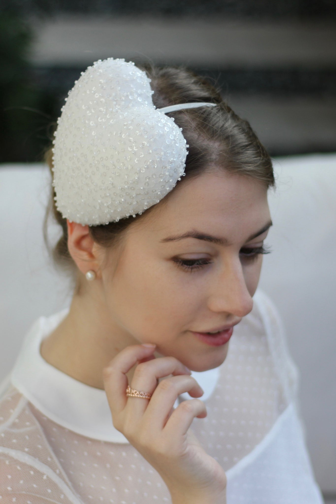 Ivory Wedding Heart Headband, White Bridal Headpiece, Sparkly Heart Fascinator