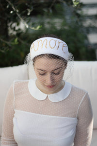 Ivory Vintage Style Bridal Headpiece, 'Amore' Fascinator with Veil