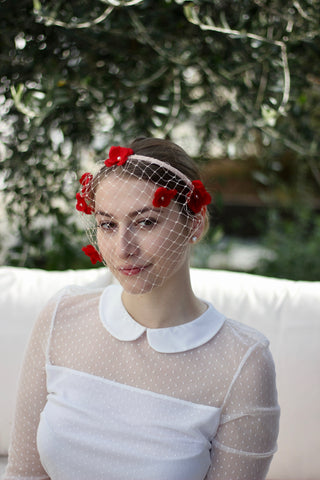 Birdcage Veil Headband, Bridal Pink Red Fascinator, Floral Wedding Headpiece