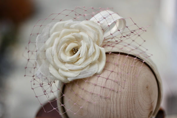 Silk Flower Wedding Headband, Bridal Hair Accessory, Wedding Headpiece