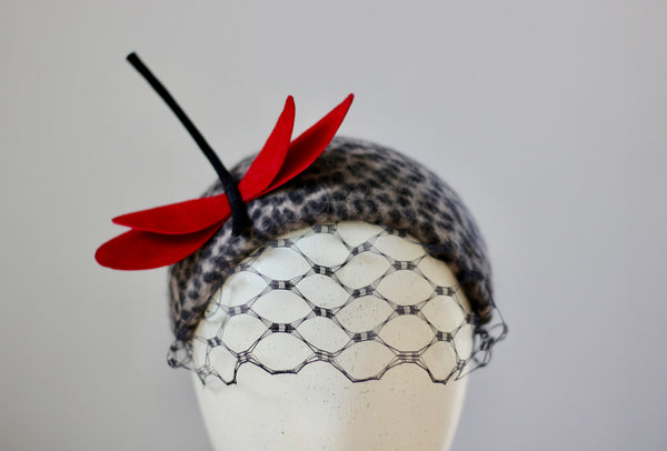 Leopard Red Leather Dragonfly Fascinator, Elegant evening headpiece