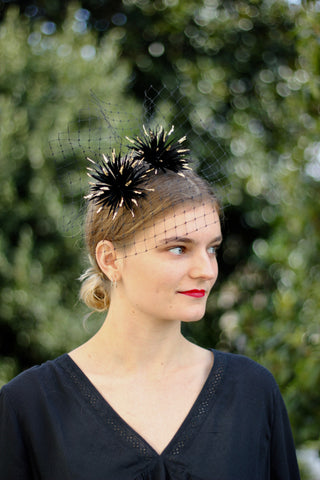 Black Gold Feather Crown, Unique black feather fascinator